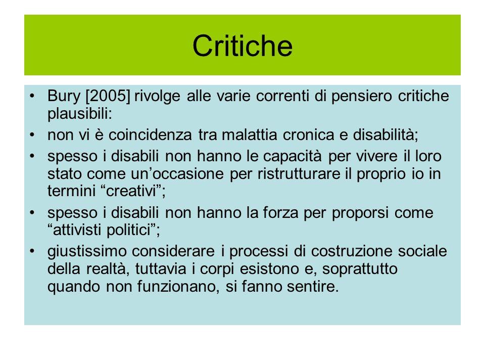 Critiche Bury [2005] rivolge alle varie correnti di pensiero critiche plausibili: non vi è coincidenza tra malattia cronica e disabilità;